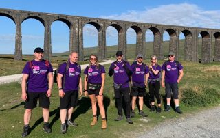 The Westmorland General Hospital team at Ribblehead Viaduct during their ThreePeaks challenge