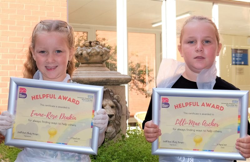 Emme-Rose Deakin and Lilli-Mae Archer received certificates thanking them for their support for Bay Hospitals Charity