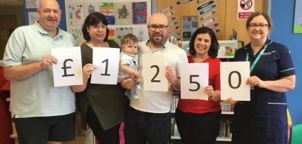 Cheque for £1250 presented to Furness General Children's Ward by the Goodings family