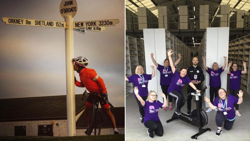 LEFT: Darryl Dixon arrives at John o'Groats after battling the elements for six days; RIGHT: Sarah Gabriel pedals for extra donations along with James Carberry of Industry 13 and colleagues in the UHMBT Medical Records Team.